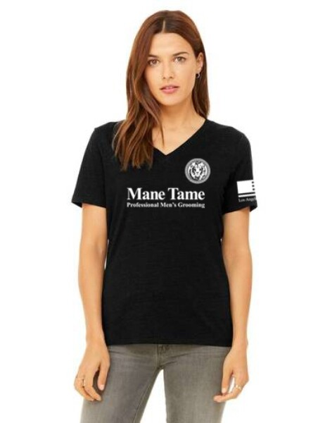 Mane Tame Ladies' V-Neck Tee – Large